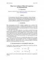 Cover for Plane-wave solutions of Maxwell's equations: An educational note