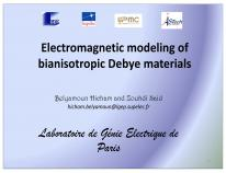 Cover for Electromagnetic modeling of bianisotropic Debye materials